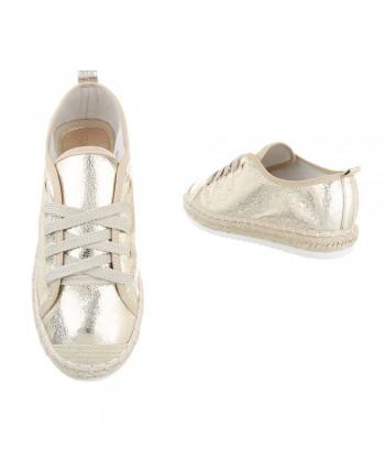 Modni čevlji gold z rafija obrobo podplata