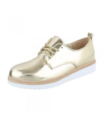 Oxford čevlji v zlatem sijaju z debelejšim podplatom