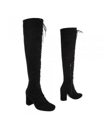 Visoki škornji nad koleni z vezalkami
