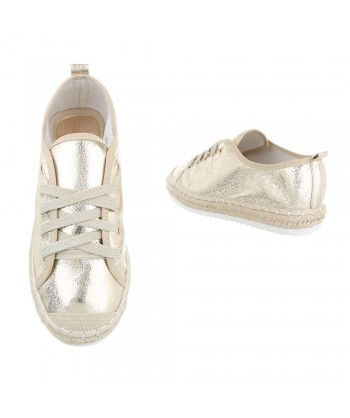 Modni čevlji gold z rafija obrobo podplata - SAMO ŠE V 38
