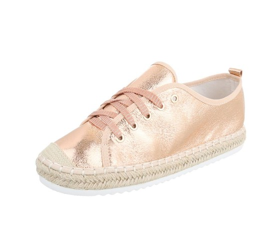 Modni čevlji rosegold z rafija obrobo podplata